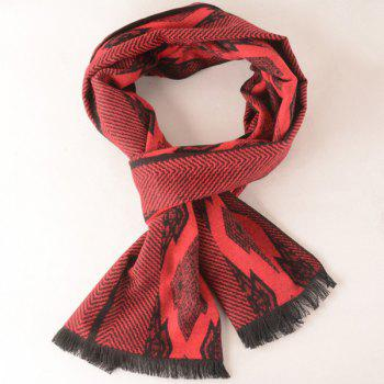 Symmetry Rhombus Fringe Scarf - RED RED