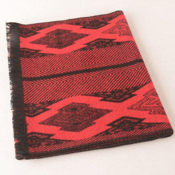 Symmetry Rhombus Fringe Scarf - RED