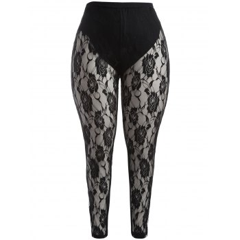 Plus Size Floral Graphic Lace Leggings