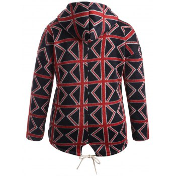 Plus Size Geometric Graphic Fleece Lined Hooded Coat - 5XL 5XL