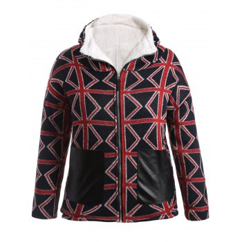 Plus Size Geometric Graphic Fleece Lined Hooded Coat - RED 5XL
