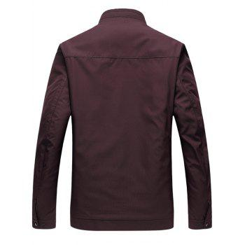 Zip Up Stand Collar Side Pocket Padded Jacket - CLARET 3XL