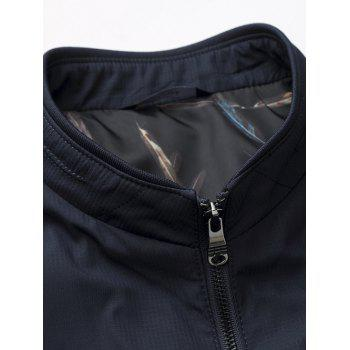 Zip Up Stand Collar Side Pocket Padded Jacket - DEEP BLUE 6XL