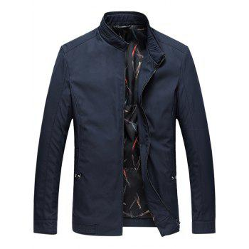 Zip Up Stand Collar Side Pocket Padded Jacket - DEEP BLUE 2XL