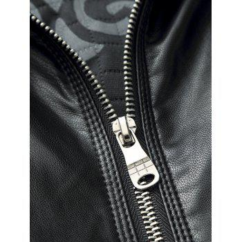 Side Pocket Zip Up PU Leather Padded Jacket - 8XL 8XL