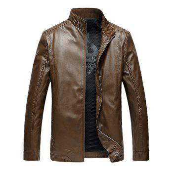 Side Pocket Zip Up PU Leather Padded Jacket