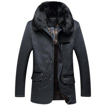 Zippered Detachable Faux Fur Collar Flocking Jacket