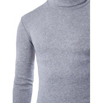 Turtleneck Plain Long Sleeve T-Shirt - LIGHT GRAY LIGHT GRAY