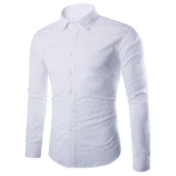 Turn Down Collar Angle Cuff Plain Shirt - WHITE WHITE