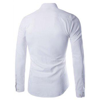 Turn Down Collar Angle Cuff Plain Shirt - WHITE M