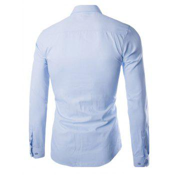 Turn Down Collar Angle Cuff Plain Shirt - LIGHT BLUE 5XL