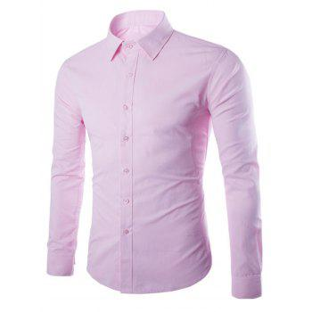 Turn Down Collar Angle Cuff Plain Shirt - PINK 5XL