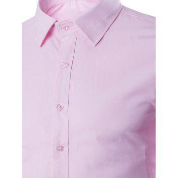 Turn Down Collar Angle Cuff Plain Shirt - 5XL 5XL