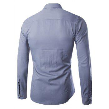 Turn Down Collar Angle Cuff Plain Shirt - GRAY 5XL