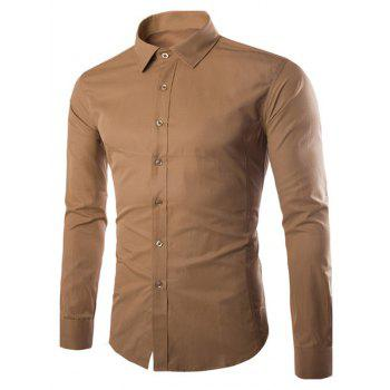 Turn Down Collar Angle Cuff Plain Shirt - KHAKI KHAKI