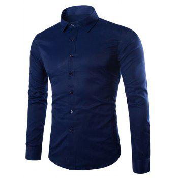 Turn Down Collar Angle Cuff Plain Shirt - CADETBLUE CADETBLUE