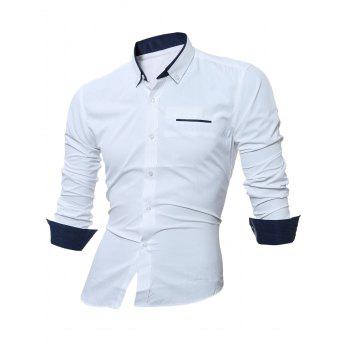 Long Sleeve Contrast Pocket Button Down Shirt - WHITE WHITE