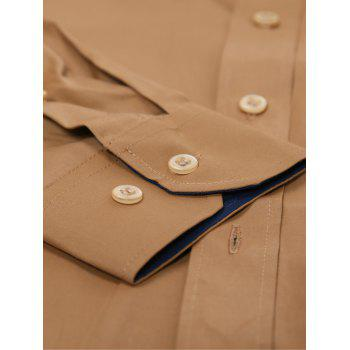 Long Sleeve Contrast Pocket Button Down Shirt - KHAKI L