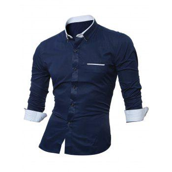 Long Sleeve Contrast Pocket Button Down Shirt - PURPLISH BLUE M