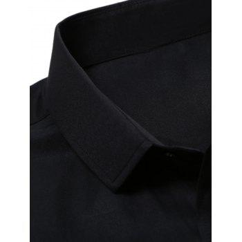 Chest Pocket Long Sleeve Plain Shirt - BLACK BLACK