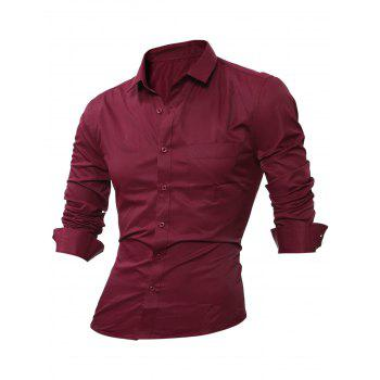 Chest Pocket Long Sleeve Plain Shirt