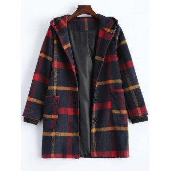 Hooded Plaid Overcoat