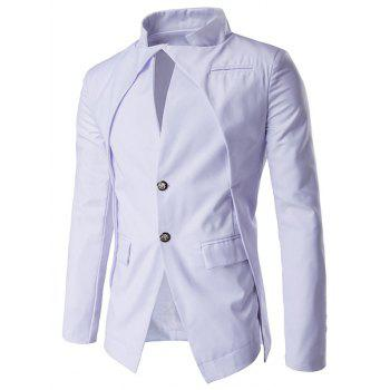 Stand Collar Pocket Layered Two Button Blazer - WHITE M