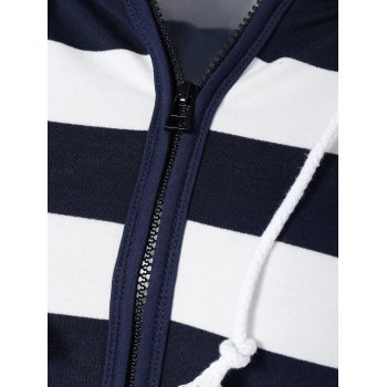 Striped Drawstring Zip Up Hoodie - PURPLISH BLUE PURPLISH BLUE