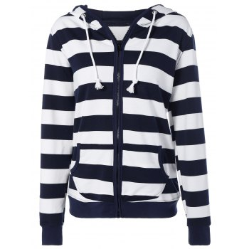 Striped Drawstring Zip Up Hoodie