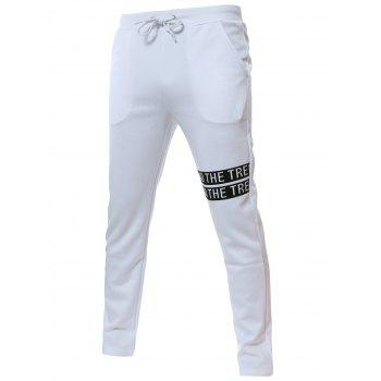 Mid Rise Pocket Drawstring Pants - WHITE M