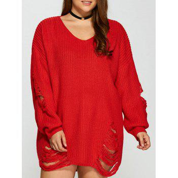 Distressed Plus Size Sweater - RED RED