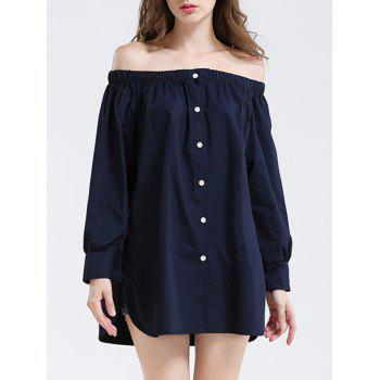 Off The Shoulder Button Up Blouse