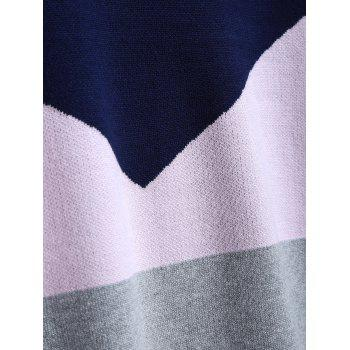 Tricoté Color Block Dress - Bleu Violet ONE SIZE
