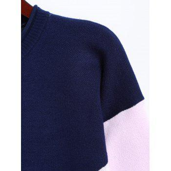 Knitted Color Block Dress - PURPLISH BLUE ONE SIZE