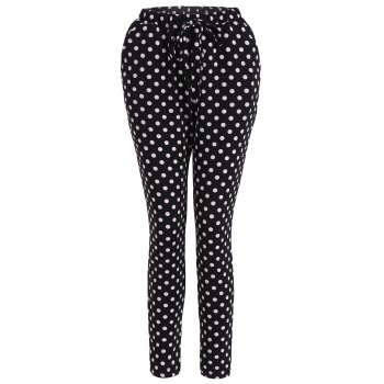 Polka Dot Drawstring Skinny Pants