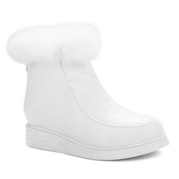 Checked Faux Fur Ankle Boots