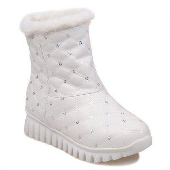 Checked Sequins Snow Boots