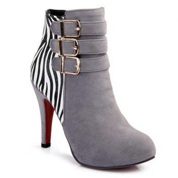 Buckle Zebra-Stripe Trim Ankle Boots