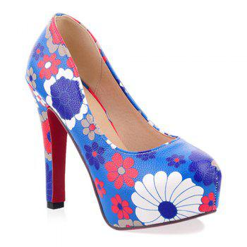 Floral Chunky Heel Pumps