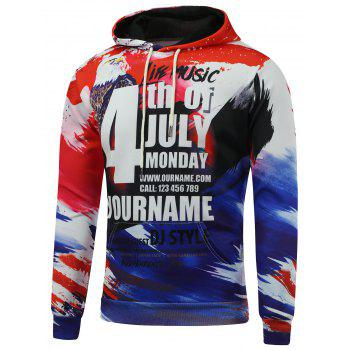 4th of July Eagle Printed Pullover Hoodie - COLORMIX XL