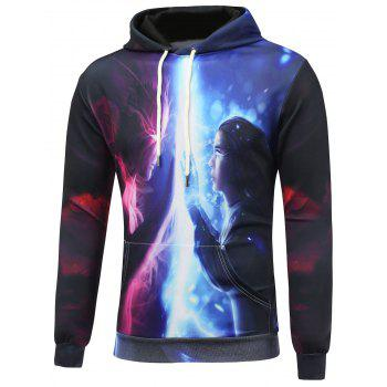 Cartoon 3D Print Kangaroo Pocket Pullover Hoodie - COLORMIX XL