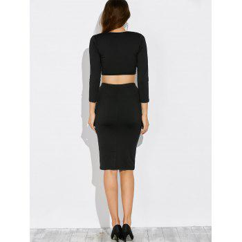 Knotted Cropped Top and Pencil Skirt - BLACK L