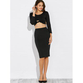Knotted Cropped Top and Pencil Skirt - BLACK M