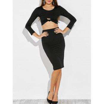 Knotted Cropped Top and Pencil Skirt - BLACK BLACK