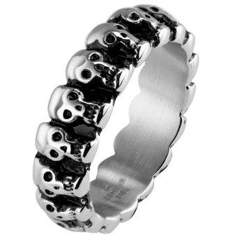 Vintage Alloy Engraved Skulls Ring