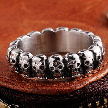 Vintage Alloy Engraved Skulls Ring - SILVER 7