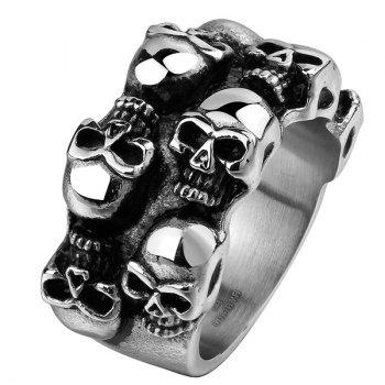 Alloy Engraved Skulls Ring