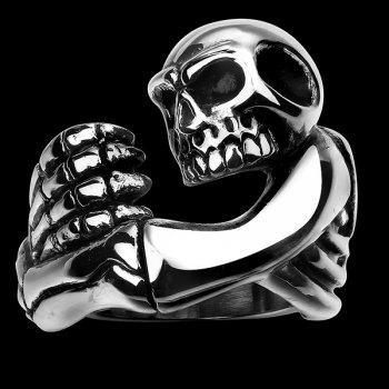 Engraved Claw Skull Ring