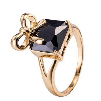 Artificial Gem Bows Geometric Ring
