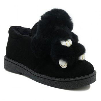 Suede Elastic Band Faux Fur Flat Shoes